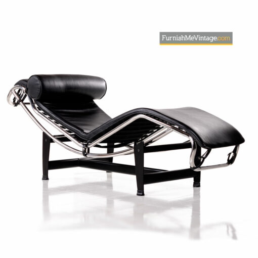 Le Corbusier LC4 Black Leather Chaise Lounge Reproduction
