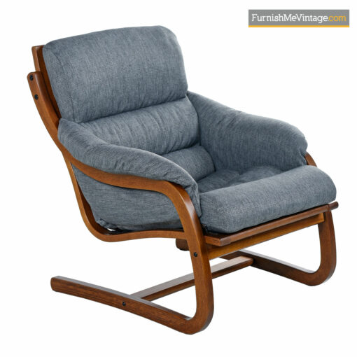 Cantilever Lounge Chair Set by Stouby Polster - Danish Bent Teak Frame