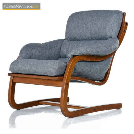 Alvar Aalto Style Cantilever Lounge Chair Set by Stouby Polster - Danish Bent Teak Frame