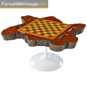 Live Edge Cypress Tulip Base Chess & Backgammon Board End Table