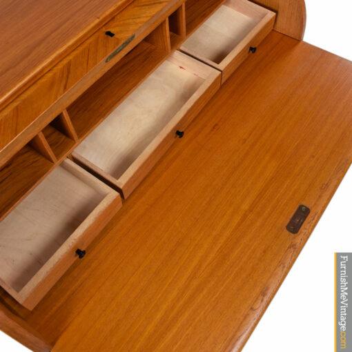 Egon Ostergaard Swedish Teak Roll-Top Locking Secretary Desk