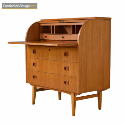 Egon Ostergaard Swedish Teak Roll-Top Locking Secretary Desk