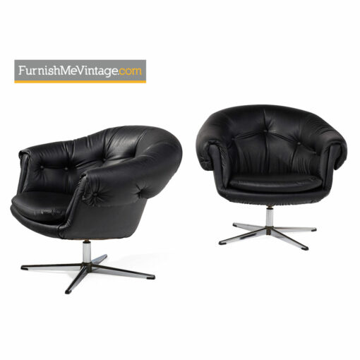 Pod Chairs - Mid-Century Modern Overman Style in Tufted Black Vinyl