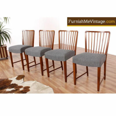 Spindle Back Danish Dining Chairs - Restored Set of Four