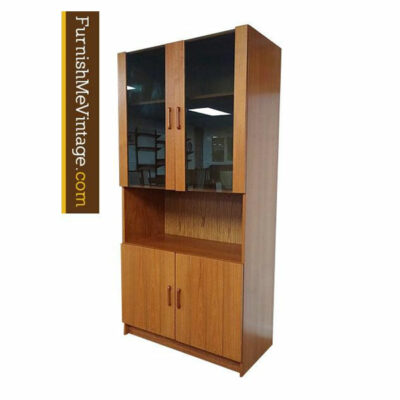 teak smoked glass hutch