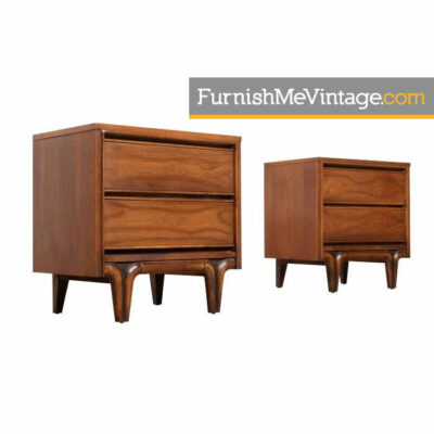 walnut mid century nightstands