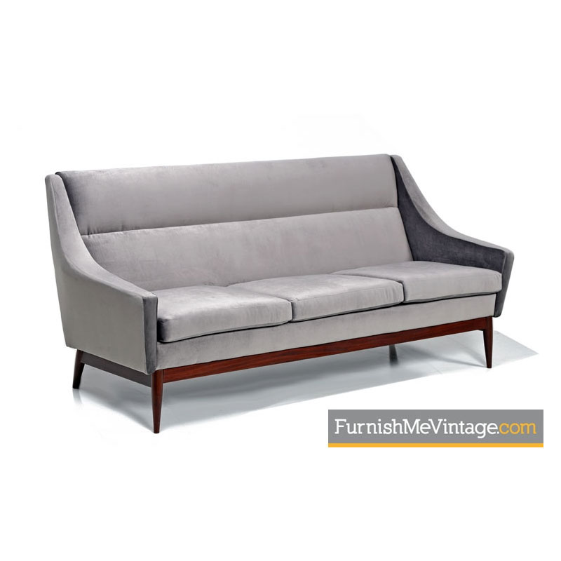 Danish Sofa With Hans Wegner Modern Style Restored in Grey Velvet