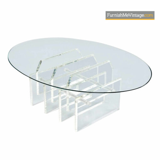 Charles Hollis Jones Acrylic Lucite Coffee Table With Glass Top - Hollywood Regency