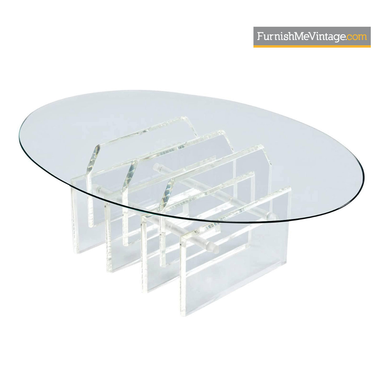 Lucite Coffee Table.Oval Staggered Acrylic Lucite Coffee Table