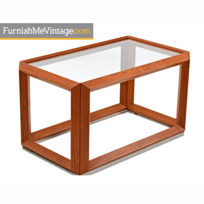Modern teak and glass end tables