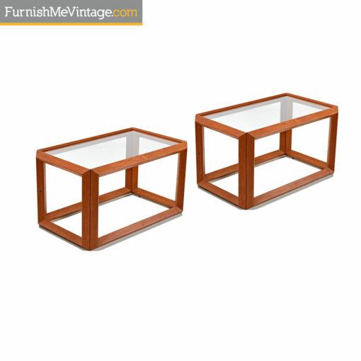 teak and glass danish modern end tables
