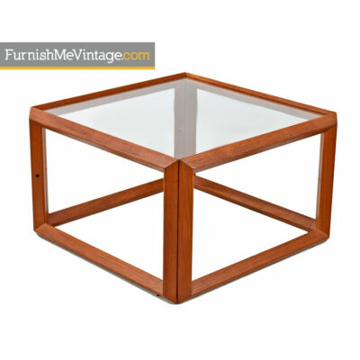 teak and glass end table