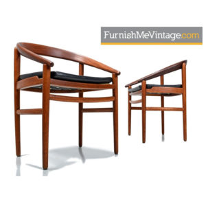 H. Brockmann-Petersen Bowed Back Danish Arm Chairs