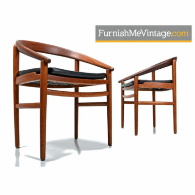 Brockmann-Petersen Danish Teak Bow Back Arm Chairs