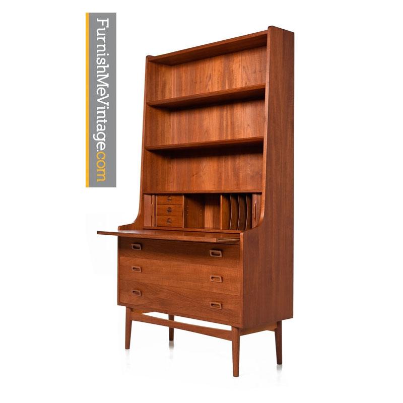 Danish Teak Secretary Bookcase