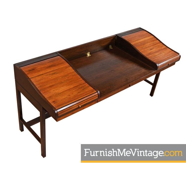 Edward Wormley For Dunbar Rosewood Roll Top Desk