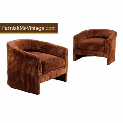 Brown barrel chairs