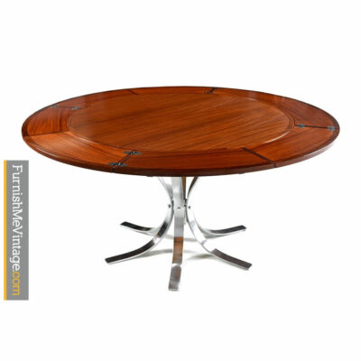 dyrlund,flip flap table,lotus,rosewood,danish,expanding,chrome base,modern
