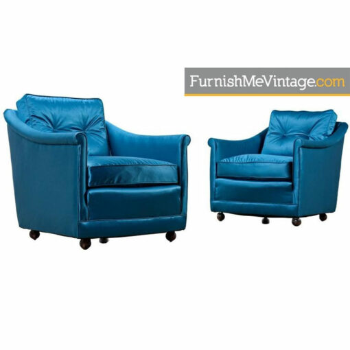 Henredon Club Chair Set - Hollywood Regency Satin Blue Fabric