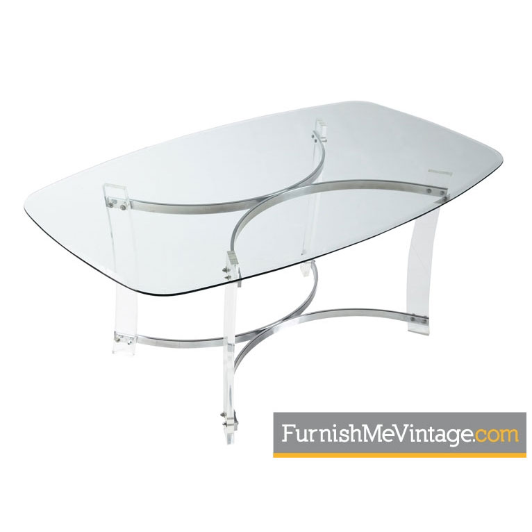 Hollywood Regency Lucite Chrome Dining Table