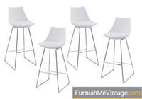 Set of (4) NEW Modern White Bar Stools