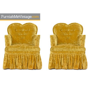 Hollywood Regency Crushed Velvet Chartreuse Chairs