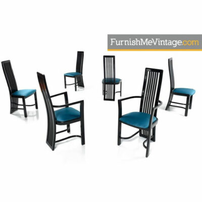black lacquer,Asian modern,hollywood regency,dining,chairs,vintage