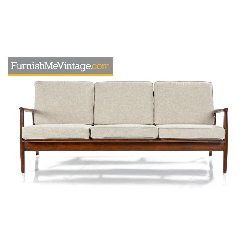 Grete Jalk Style Three Seater Wood Frame Sofa Couch