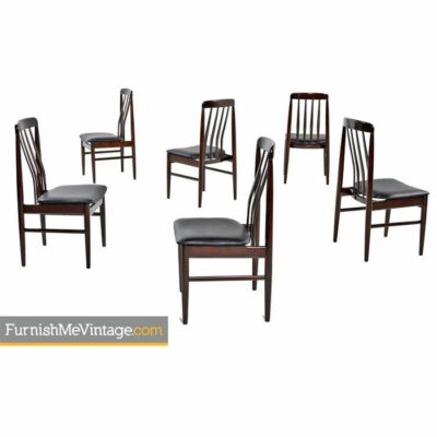 Rosewood Chairs - Danish Modern Slat Back Set of Six