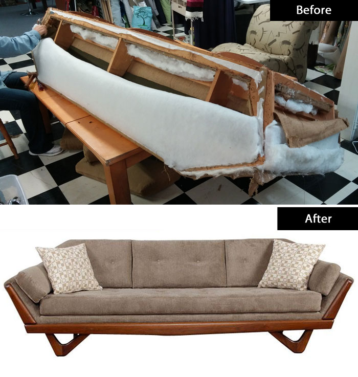 Mid Century Gondola Sofa: Furniture Restoration Photos