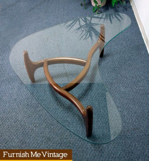Vintage Boomerang Shaped Glass Coffee Table with Planter