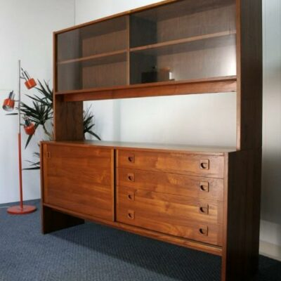 Danish Modern Teak 2-Piece Sideboard Hutch