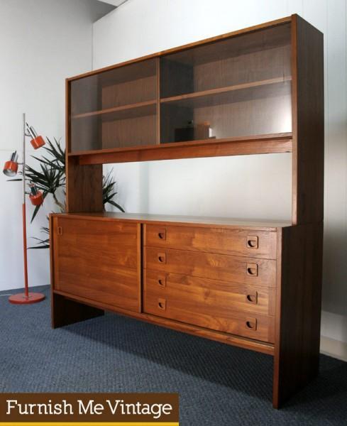Danish Modern Teak 2-Piece Sideboard Hutch