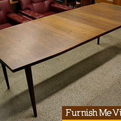 Long Narrow Danish Style Vintage Walnut Dining Table