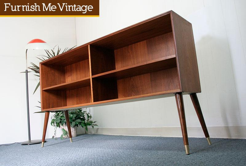 Danish Modern Teak Long Low Bookshelf Atomic Legs