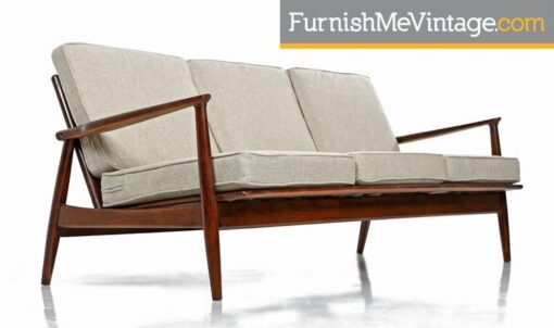 Mid-Century Modern Grete Jalk Style Three-Seater Wood Frame Sofa Couch