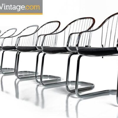 Gastone Rinaldi Style Chrome Wire Frame Dining Chairs Made in Italy, 1960's