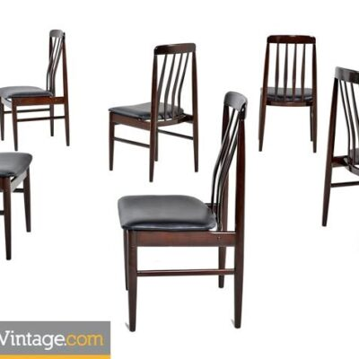 Danish Modern Rosewood Slat Back Dining Chairs, 1960s