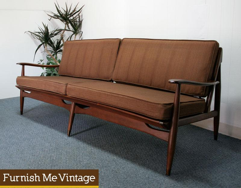 Mid Century Modern Wood Frame Sofa Reversible Cushions