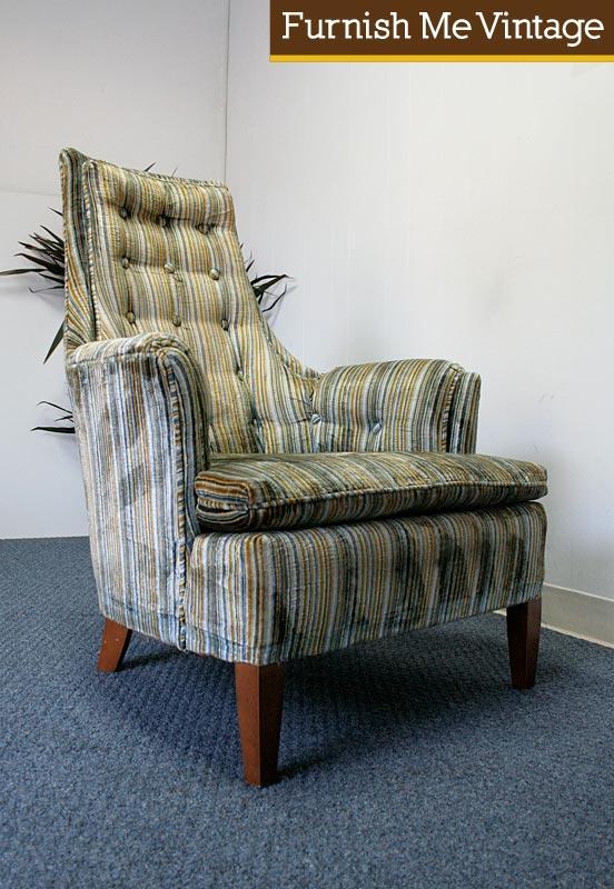 Vintage Clyde Pearson Cotton Velvet Upholstered Arm Chair