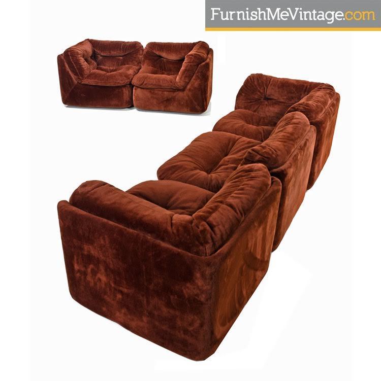 1970s Faux Fur Sectional Sofa