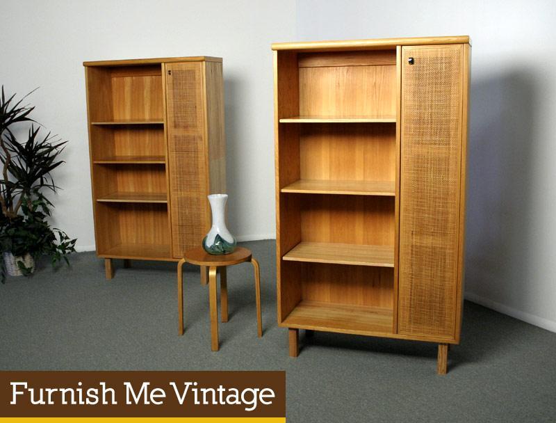 2 Vintage Solid Blond Maple Bookshelf Cabinets