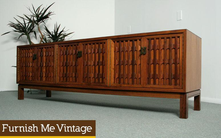 Credenza Console : Long low carved front mid century credenza console