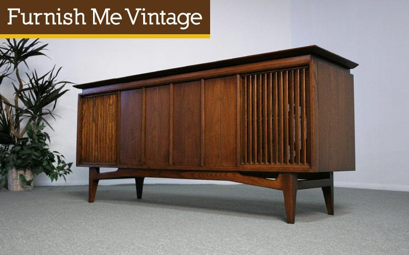 Empty Mid Century Modern Console Stereo Cabinet