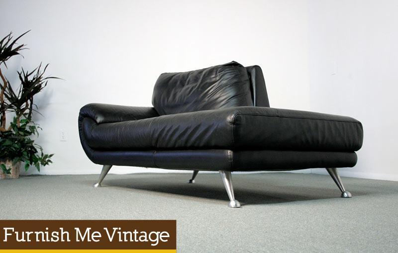Nicoletti Black Leather Chaise Lounge Sofa