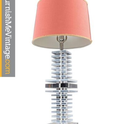 hollywood regency Marlee Stacked Acrylic Lucite Table Lamp