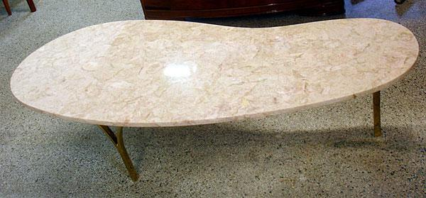 Vintage Kidney Bean Shaped Marble Coffee Table