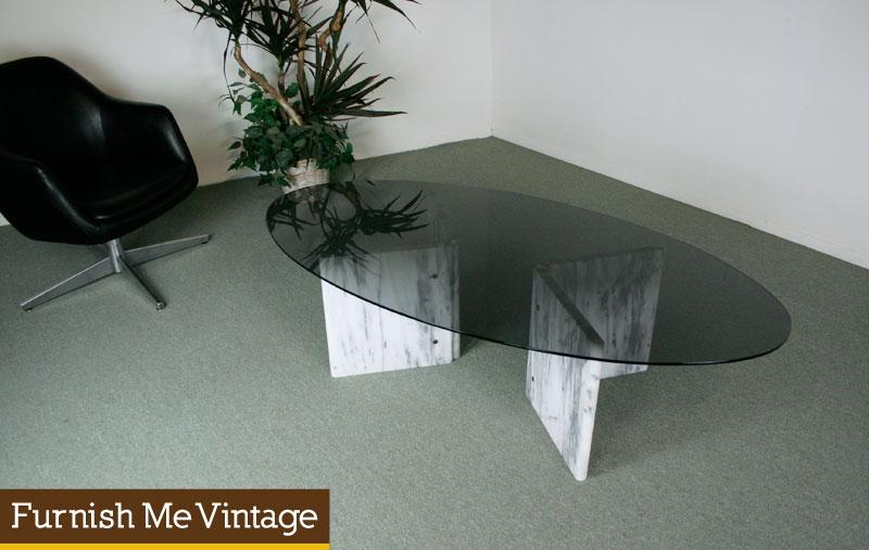 Mid Century Modern Marble Glass Coffee Table