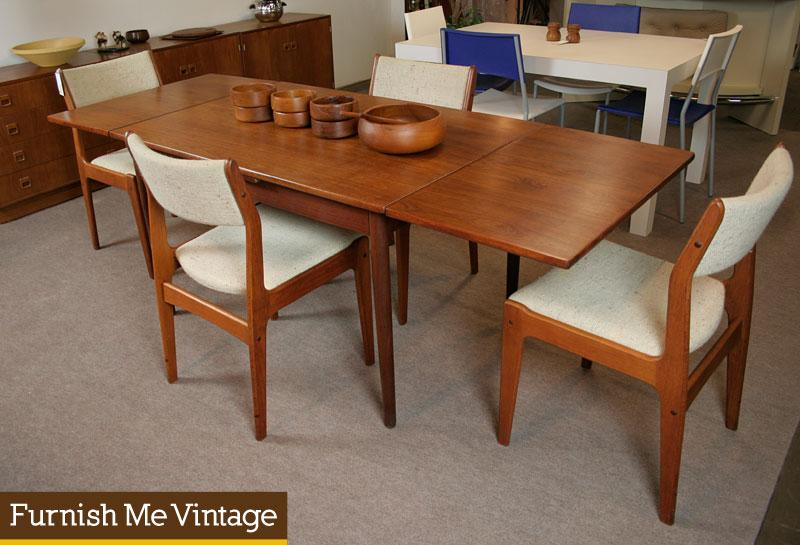 Mid Century Modern Narrow Danish Teak Dining Table