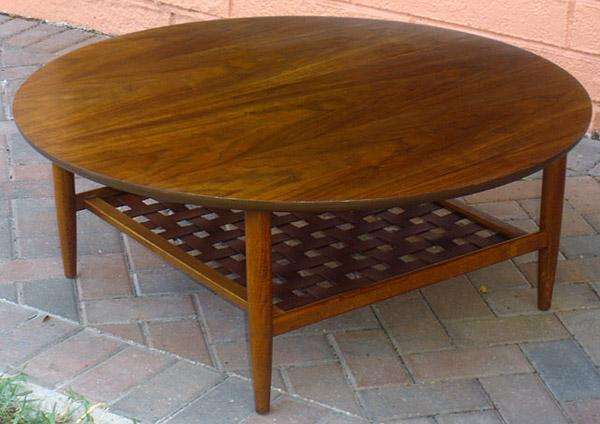 Vintage Lane Two Tier Coffee Table With Woven Bottom Shelf - Two level coffee table